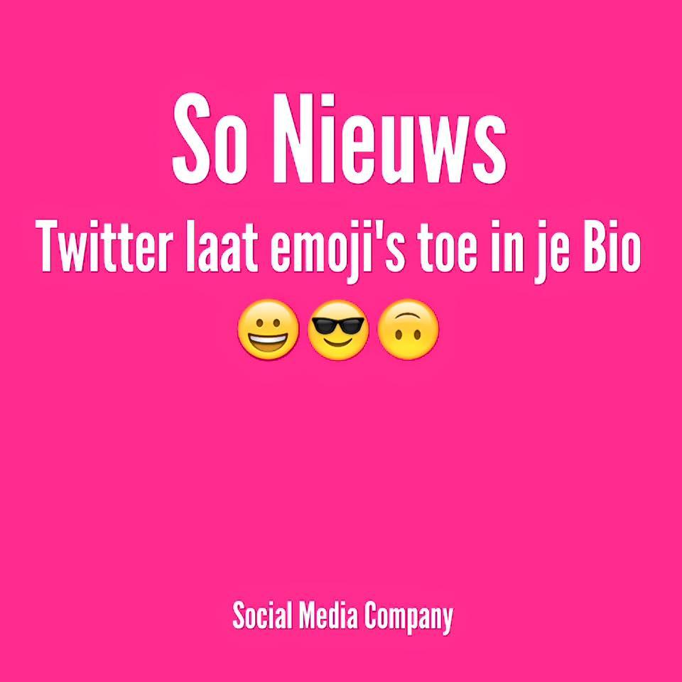 Twitter laat #emoji's toe in biografie