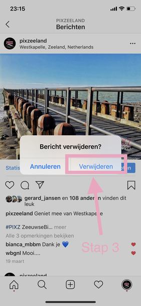 Instagram Foto's verwijderen via smartphone