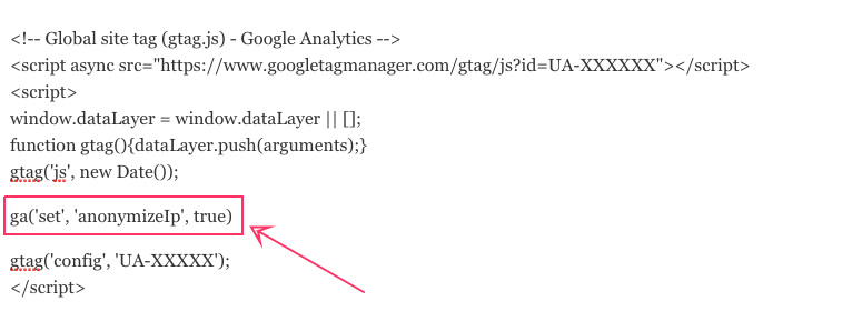 Instellen Google Analytics in WordPress site anonimiseren IP Adressen AVG 2018