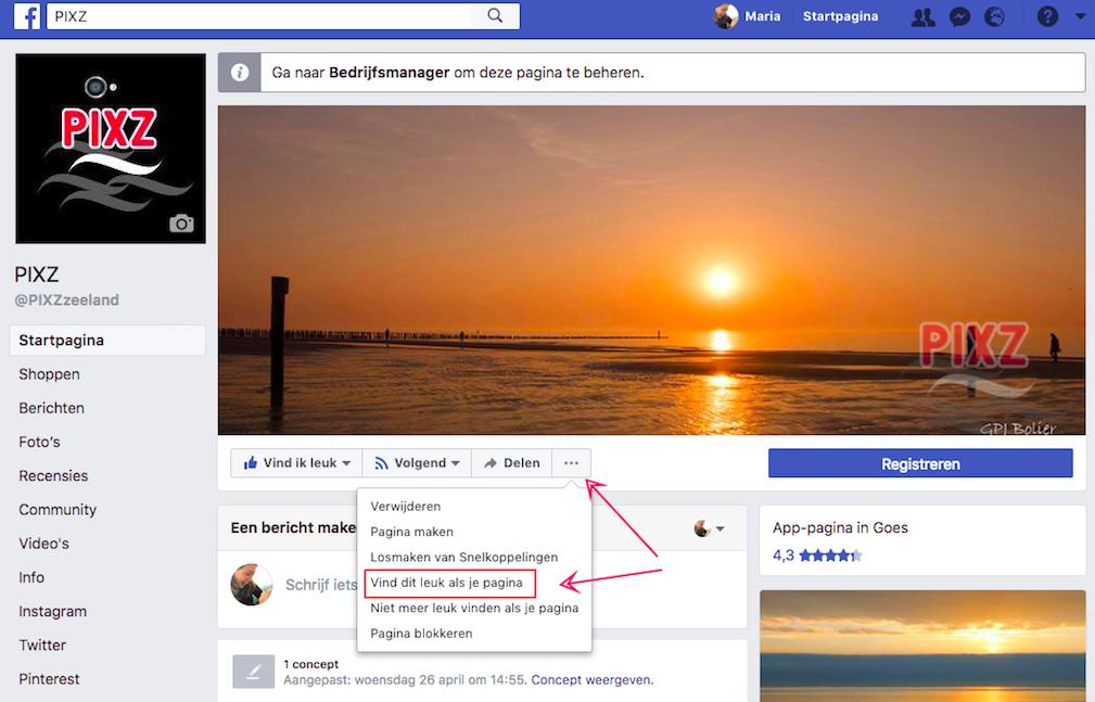 Hoe like je een andere bedrijfspagina op Facebook?