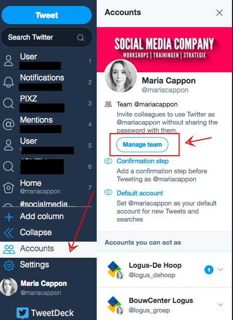 Stap 1 Twitter multiple users zakelijk account