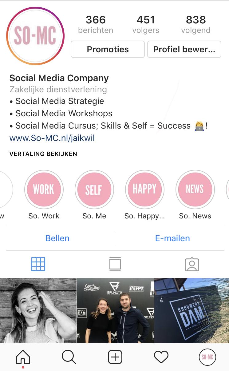 Instagram Hoogtepunten vormgeven