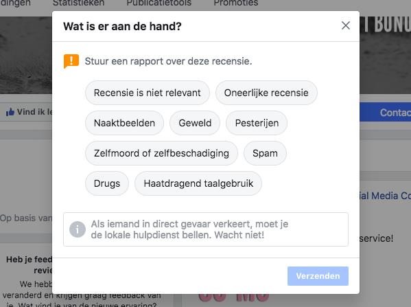 Facebook recensie rapporteren