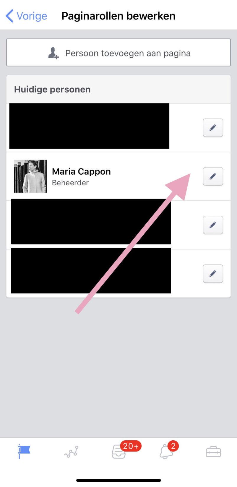 Jezelf verwijderen als Facebook Beheerder