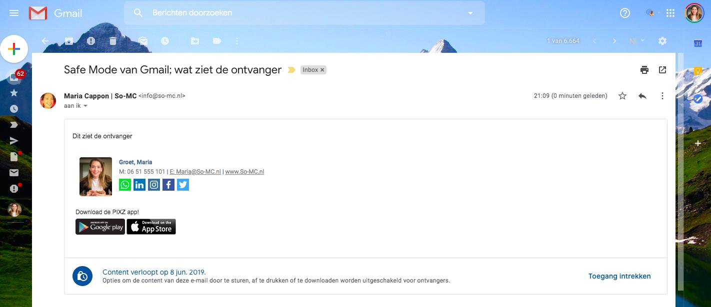 Gmail for business; vertrouwelijke modus!