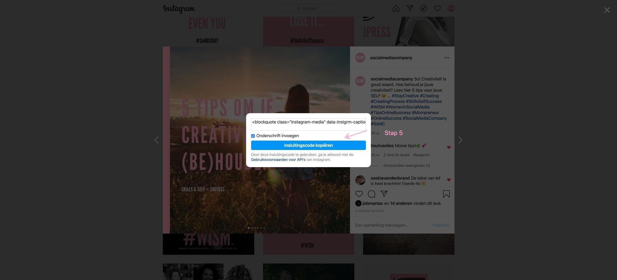 Hoe sluit ik een Instagram bericht in mijn website?