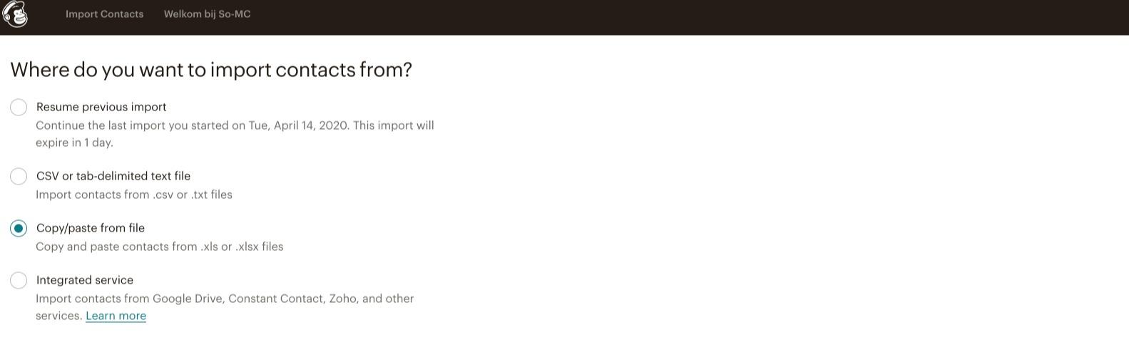 Meerdere contacten tegelijk importeren in Mailchimp