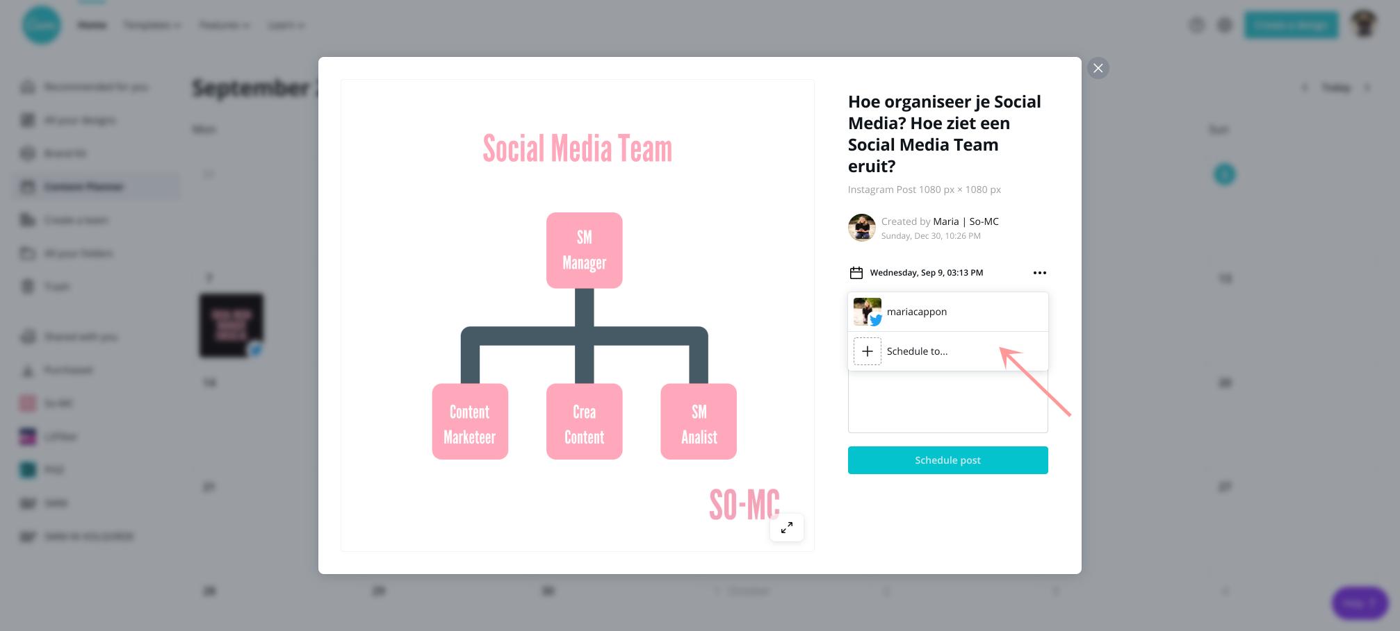 Canva content inplannen stap 5 kies social media kanalen