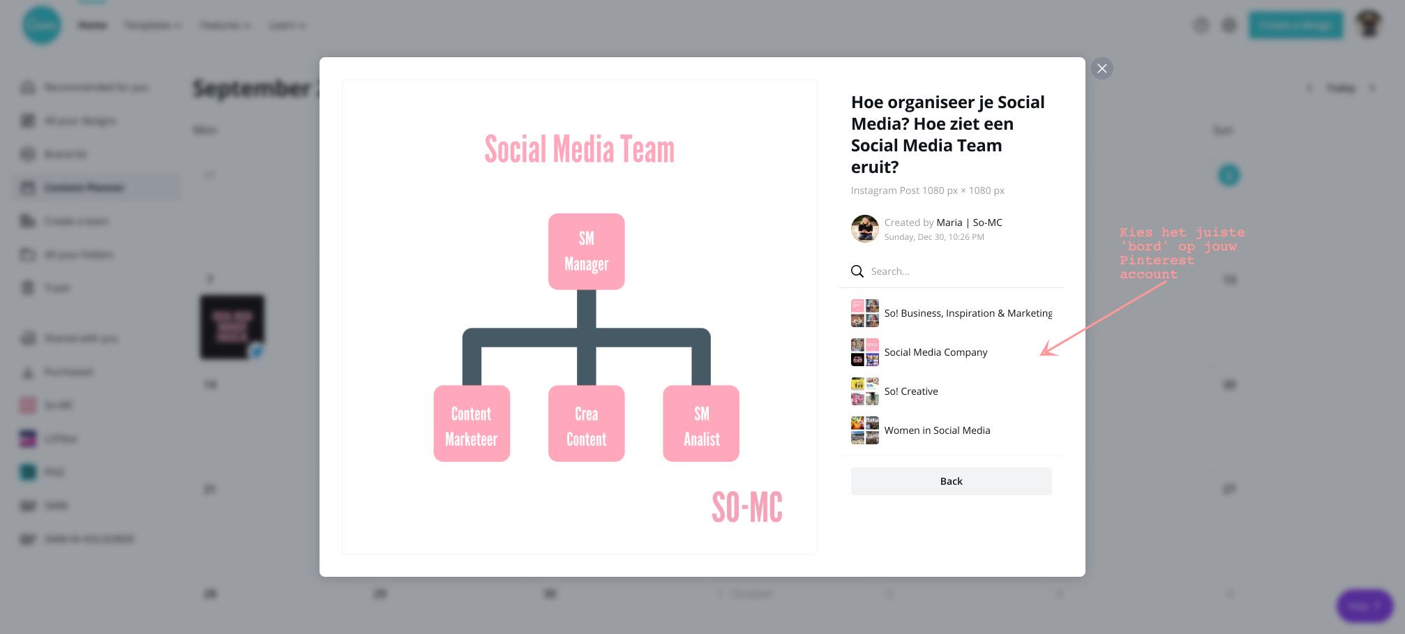 Canva Contentplanner kies het juiste social media kanaal
